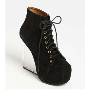 Jeffrey Campbell 'Dina' clear wedge suede boot